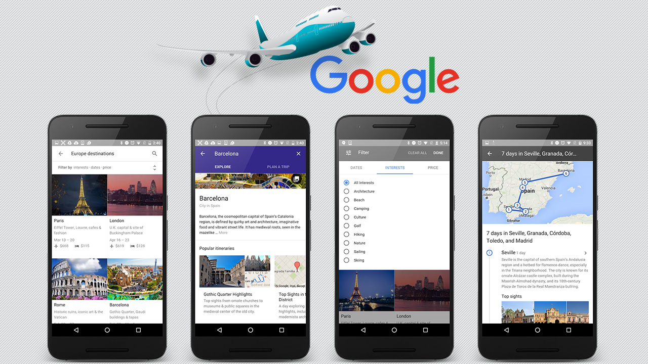 plan a vacation with Google Destinations