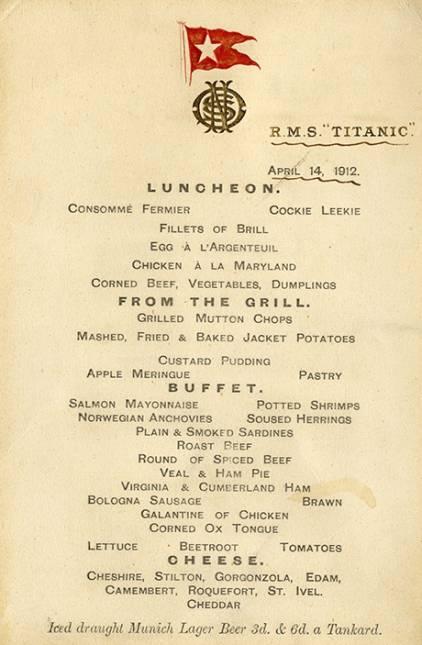 the titanic's last meal