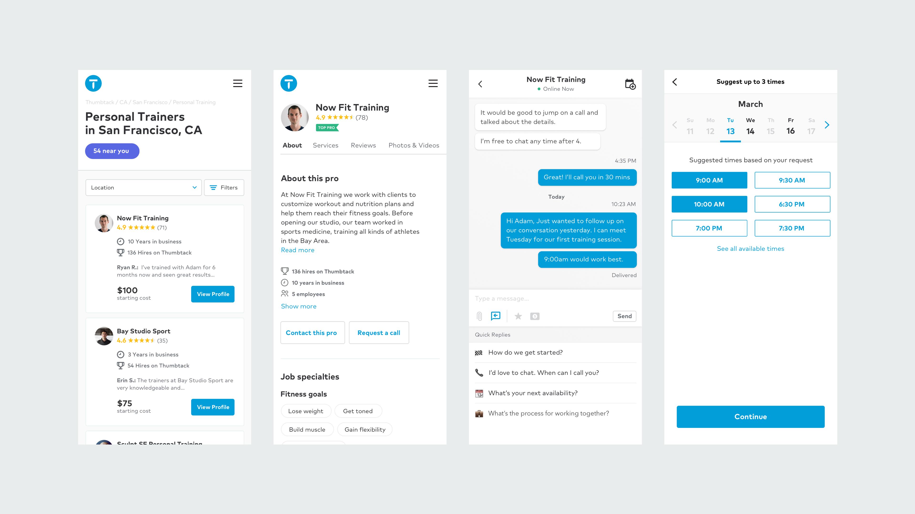 customer product screens set copy
