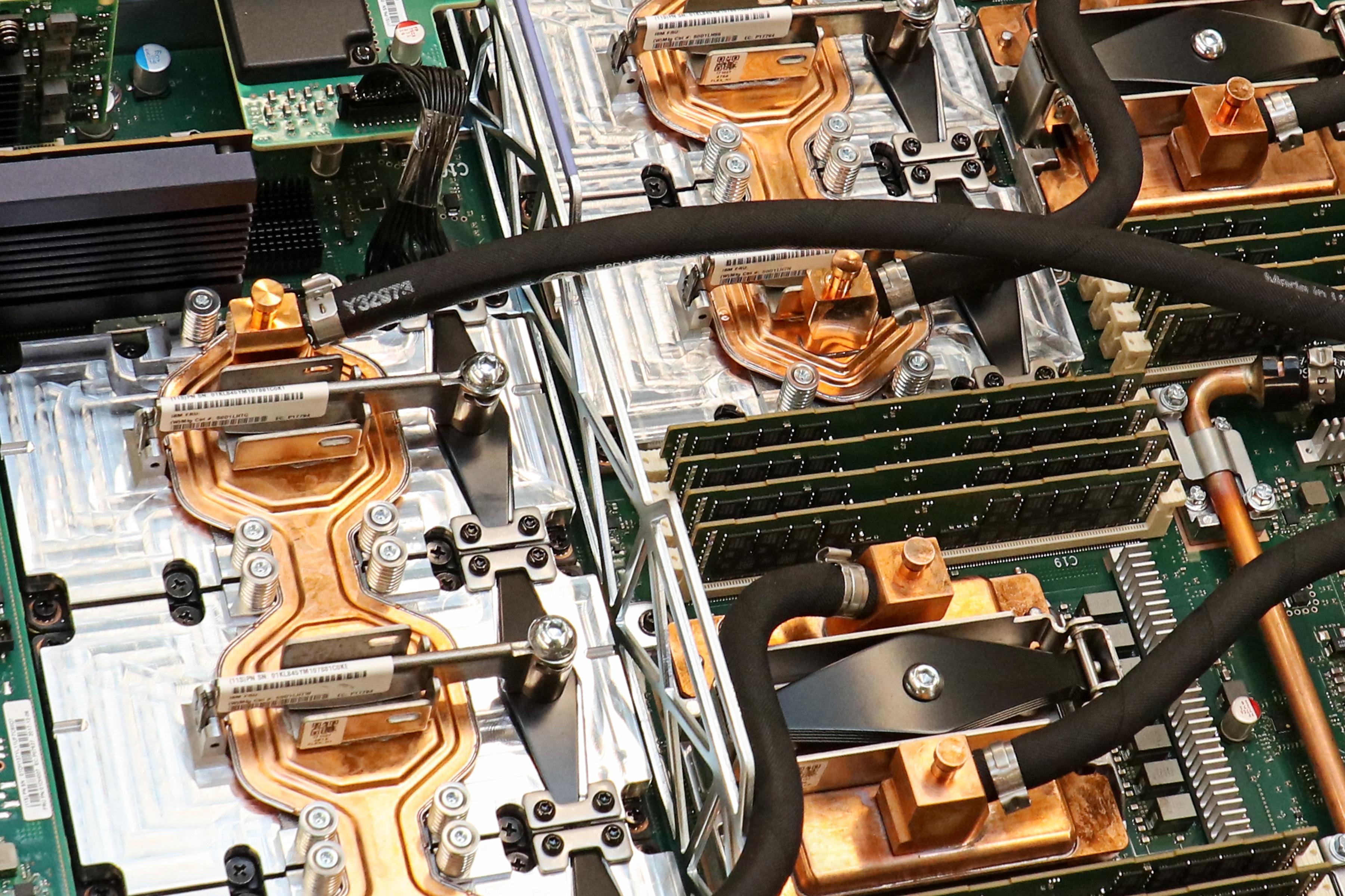 Summit supercomputer node interior