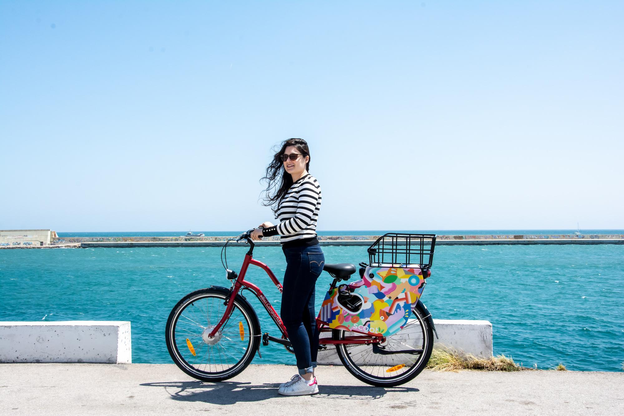 wide shot bike riding